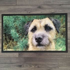 The finished mat! It's printed onto carpet so has a textured appearance, almost as though the photo has been converted to a painting