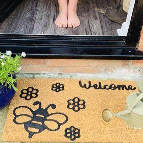 Decorative Coir And Rubber Door Mat- Bee