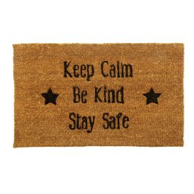 Keep Calm, Be Kind, Stay Safe Door Mat - Biodegradable + Eco Friendly